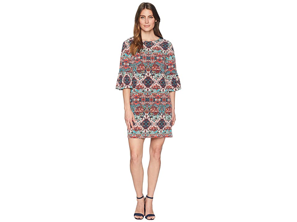 London Times Printed Matte Jersey Long Sleeve Dress (Red/Turquoise) Women