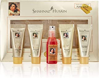 Shahnaz Husain 24 Carat Gold Skin Radiance Timeless Youth Kit with Exfoliating Scrub, Radiance Gel, Moisturizing Cream, an...