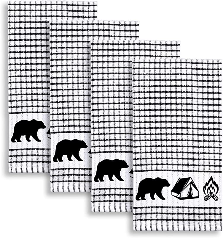 Cackleberry Home Wilderness Camping Windowpane Check Cotton Terrycloth Kitchen Towels Set Of 4 Black