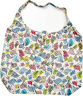 Trendy Sturdy Shopping Tote Bag - Color Birds Pattern (Yellow)