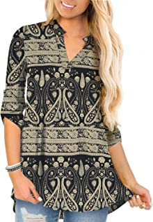 Women's Plus Size Tops 3/4 Roll Sleeve Shirts V Neck...