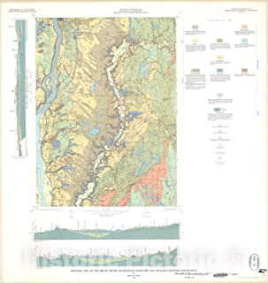 Historic Pictoric Map : Geologic map of The Broad Brook Quadrangle, Hartford and Tolland Counties, Connecticut, 1965 Cartography Wall Art : 24in x 24in