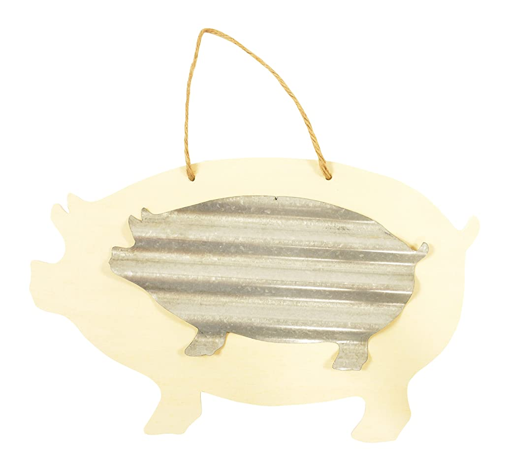 Darice Unfinished Wood Pig with Corrugated Metal