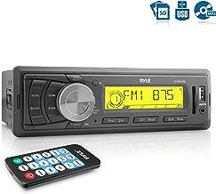Pyle Marine Stereo Headunit Receiver - 12v Single DIN Style Digital Boat In dash Radio System w/ MP3 USB SD, AUX, RCA, AM FM Radio Weatherband - Remote Control, Power Wiring Harness - PLMR87WB (Black)