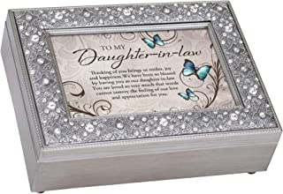 Cottage Garden Daughter in Law You are Loved Filigree Jewel Bead Silver Tone Music Box Plays Wind Beneath My Wings