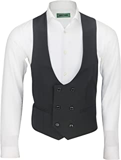 Xposed Mens Double Breasted Low Horseshoe U Cut Formal Tuxedo Suit Waistcoat Fitted Smart Casual Vest
