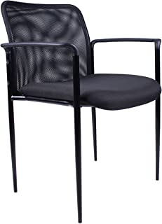 Boss Office Products Stackable Mesh Guest Chair in Black