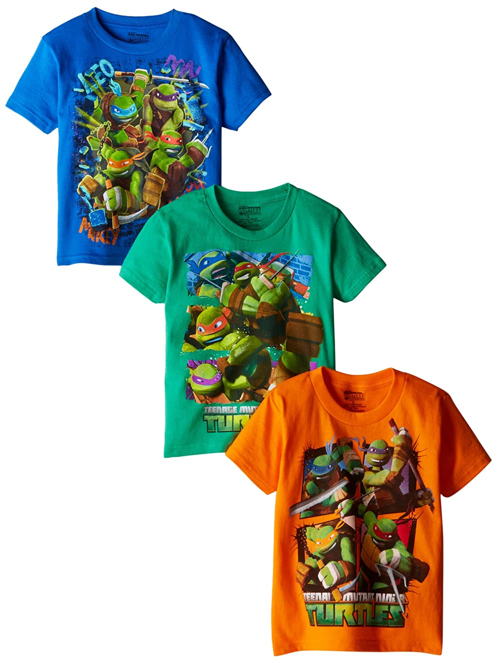 Nickelodeon Little Boys' Ninja Turtles 3 Pack T-Shirts, Assorted, 7