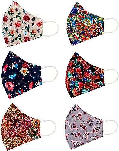 Rectitude® - 6 Pcs Fashion Flowers Cloth Face Mask - Adjustable Washable Cotton Masks for Adult (Women mask fashion)