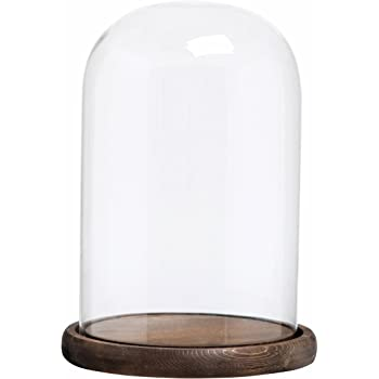 MyGift 8 x 5 Inch Decorative Clear Glass Cloche Bell Jar Display Case with Rustic Wood Base, Tabletop Centerpiece Dome