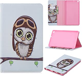 Tramako Tablet Leather Case for Samsung Galaxy Tab A 8.0 inch 2019 Release Model T290 T295 T297,PU Leather Flip Folio Stand Cover with Card Slots Not Auto Wake-up (owl)