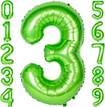 40 Inch Large Number Balloons Green Mylar Foil Big Number 3 Giant Balloon Birthday Party Decoration