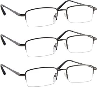 Reading Glasses Best 3 Pack Gunmetal for Men and Women Have a Stylish Look and Crystal Clear Vision When You Need It! Comfort Spring Arms & Dura-Tight Screws 100% Guarantee +1.50