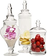 MyGift Designer Clear Glass Apothecary Jars (3 Piece Set) Decorative Weddings Candy Buffet