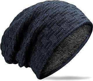 Mens Womens Hat Beanie Cap, Unisex Winter Warm Knitted Hats, Fleece Lining Slouch Skull Beanies Caps for Men Women