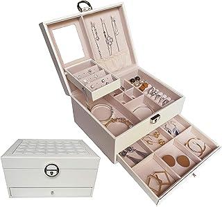 Joyeros Grandes para Mujer, Organizador Joyero Blanco para Guardar Joyas Caja Joyero joyeria con Cerradura y Espejo