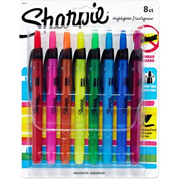 Sharpie Liquid Retractable Highlighters Assorted Colors, Chisel Tip Highlighter Pens, 8 Count