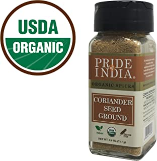 Pride Of India - Organic Coriander Seed Ground, 1.50 oz (42.5 gm) Small Dual Sifting Jar, Authentic Indian Culinary Spice,...
