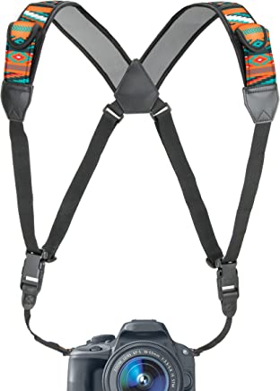 USA GEAR Camera Strap Chest Harness with Southwest Neoprene and Accessory Pockets - Compatible with Canon, Nikon, Fujifilm, Sony and Binoculars, DSLR, Point & Shoot, Mirrorless Cameras
