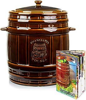K-A Gärtopf aus Steinzeug mit Deckel Wasserrinne | 15 Liter | braun | Sauerkrauttopf Gurkentopf Einlegetopf Keramiktopf Tontopf
