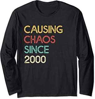 Funny 20th Birthday Gift Causing Chaos Since 2000 Awesome Long Sleeve T-Shirt