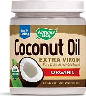 Nature's Way Organic Extra Virgin Coconut Oil Pure Cold-Pressed Organic Non-GMO 32 Ounce (Pack of 1)