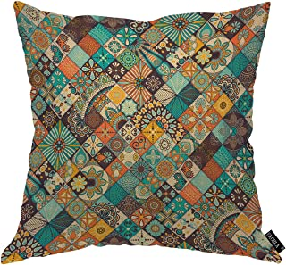 EKOBLA Arabic Pattern Throw Pillow Cover Bohemian Retro Floral Ethnic Native Tribal Ethnic Durable Pillow Covers for Livin...
