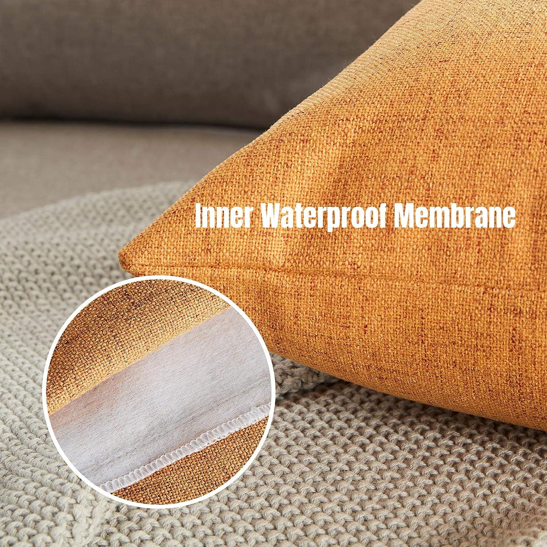 WAYIMPRESS Outdoor Pillows for Patio Furniture Waterproof Pillow Covers Square Garden Cushion Farmhouse Linen Throw Pillow Cover