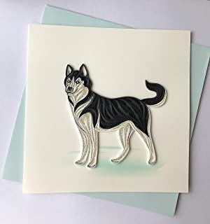 Husky Dog Quilling Greeting Card, 6x6