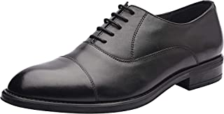 Eric Cap Toe Oxford Black Men's Formal Genuine Leather Shoes and Tonal top-Stitching, high Shine Finish Stylish Look, Low Heels and Lace Up Shoes with Rubber Sole