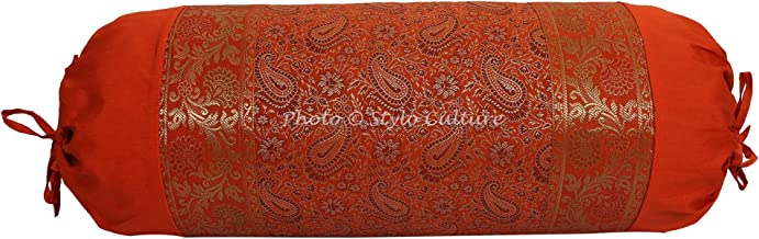 Stylo Culture Traditional Polydupion Cylindrical Yoga Bolster Pillow Cover Orange Jacquard Brocade Border Paisley Large So...