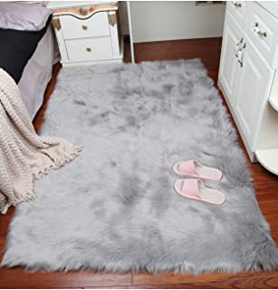 Super Soft Faux Fur Sheepskin Fluffy Area Rug Shaggy Thick Chair Cover Seat Pad Fur Floor Mat Carpet for Bedrooms Living Room Kids Rooms (Grey, 2ftx3ft)