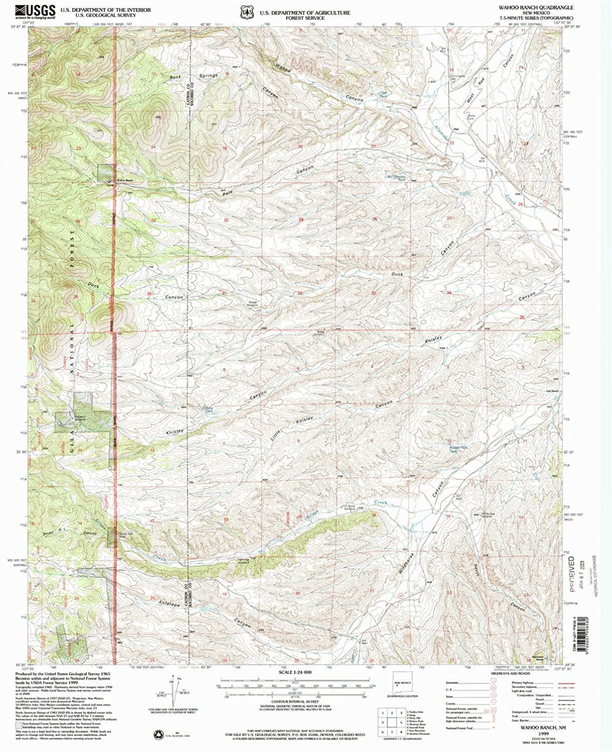 Wahoo Ranch NM topo map, 1 24000 Scale, 7.5 X 7.5 Minute, Historical, 1999, Updated 2002, 27 x 22 in