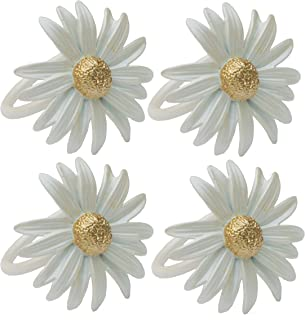 Manor Luxe Daisy Spring Flower Painted Metal Napkin Rings, Set of 4, White