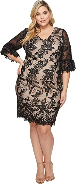 Adrianna Papell - Plus Size Eillen Embroidery Flare Sleeve