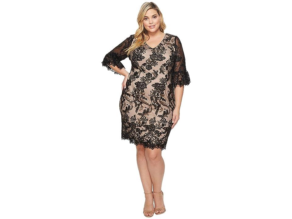 Adrianna Papell Plus Size Eillen Embroidery Flare Sleeve (Black/Bisque) Women