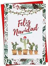 Funny Cactus 'Feliz Navidad' Merry Christmas Card 4.63 x 6.75 inch - Spanish Holiday, Happy New Year, Xmas Note - Feliz Año Nuevo y Felices Fiestas - Stationery Notecard (w/Envelope) C6633XSG-SL