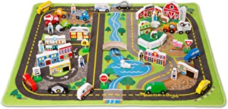 Melissa & Doug Deluxe Activity Road Rug Play Set (49 Wooden Vehicles and Play Pieces, Great Gift for Girls and Boys - Best for 3, 4, 5 Year Olds and Up)