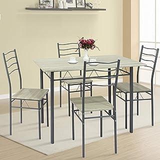 VS Venta-stock Ensemble de Table et 4 chaises pour Salle à Manger Lima Chêne/Gris, Table 110 cm x 70 cm x 76 cm, Structure...