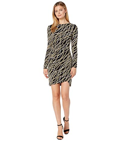 MICHAEL Michael Kors Bias Link Wrap Skirt Dress (Black/Gold) Women
