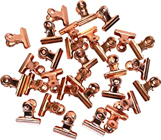 1.25 Inches Metal Bulldog Clips Binder Clips Paper Clips, Pack of 30 (Rose Gold)