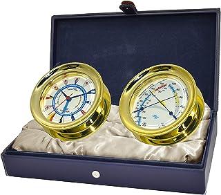 مجموعة American Voyager من Master-Mariner، مجموعة هدايا من الزجاج البحري للرياح وقياس قطرها 14.8 سم وأدوات قياس الراحة، بل...