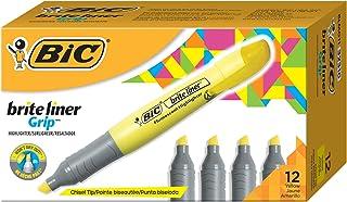 BIC Brite Liner Grip XL Highlighter, Yellow, Chisel Tip, Dozen Box