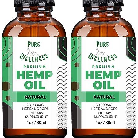 Hemp Oil Extract 30,000MG (2-Pack) – Powerful Fast Relief – Pure Hemp Oil - Anxiety Sleep Mood Stress Pain – Omega 3-6-9 Oils, Vitamins & Fatty Acids