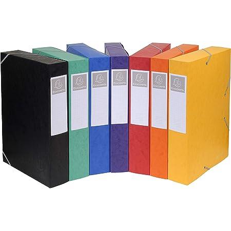 Exacompta - Réf. 16000H - 10 boites de classement avec élastiques CARTOBOX - livrées à plat -dos de 6 cm - carte lustrée 7/10ème - 600g/m²-dimensions 25x33cm-format à classer A4-7 couleurs assorties
