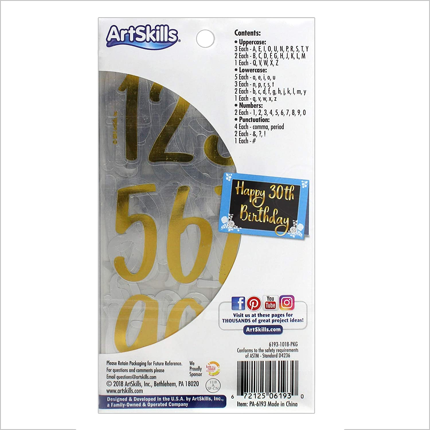 for Posters Crafts and Projects Gold Calligraphy 3 Pack 3-Pack ArtSkills PA-6193 2 Sticker Letters /& Numbers