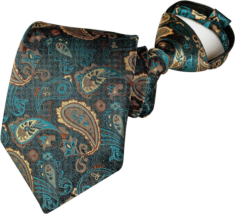 Elfeves Mens Boys Skinny Zipper Tie Wedding Paisley Check Easier Designer Necktie