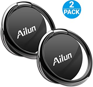 AILUN Phone Ring Stand Holder[2 Pack] Universal 360° Rotation Cellphone Finger Kickstand Grip Compatible iPhone X/8/7/6/6s Plus,Galaxy S9/S9+,s8/s8+ S7/S7 Edge,S6/S6 Edge+ Note 8 and More[Black]