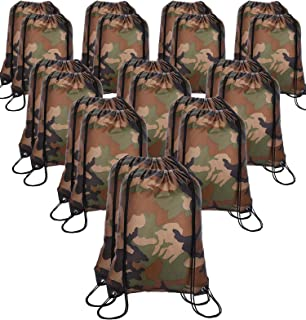 20 Pieces Drawstring Backpack Sport Bags Cinch Tote Bags for Traveling and Storage (Camouflage, Size 1)