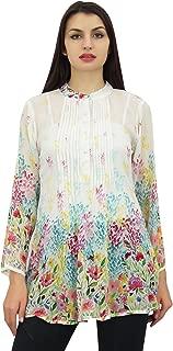 Phagun Women's Digital Printed Shirt Pin Tucks Neck Tunic Top Blouse